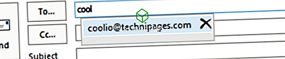 Rensa bortkänd e-postadress från i Outlook 2019/365