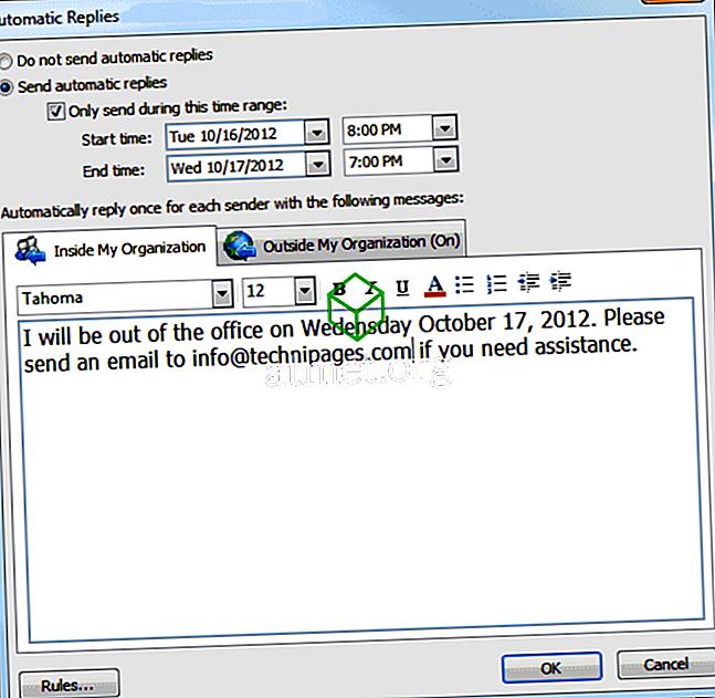 Τρόπος ρύθμισης της απάντησης εκτός γραφείου στο Outlook