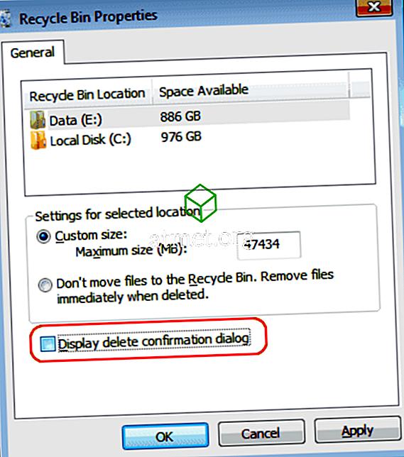 """Windows 10: Απενεργοποιήστε το στοιχείο """"Είστε βέβαιοι ότι θέλετε να μετακινήσετε αυτό το αρχείο στον Κάδο ανακύκλωσης;"""""""