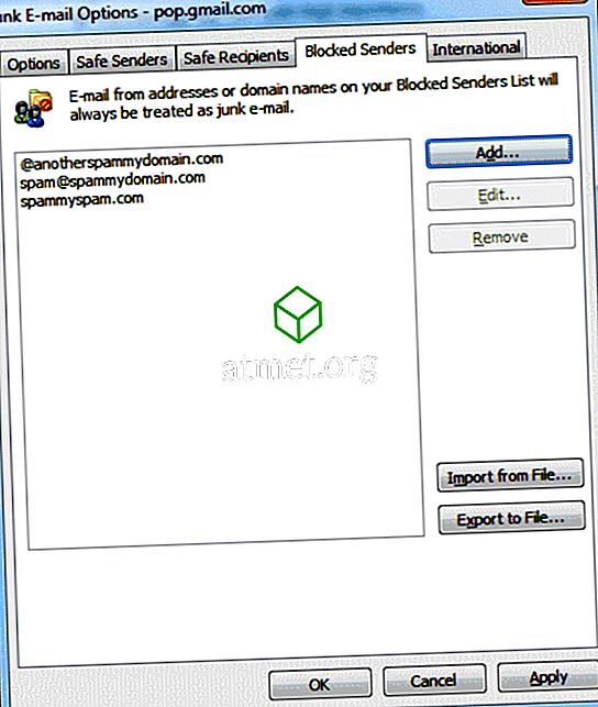 Aplikace Outlook 2016 a 2013: Blokovat e-mailové adresy a domény