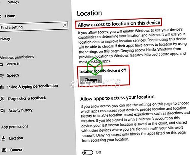 dolje promijeniti lokaciju aplikacije