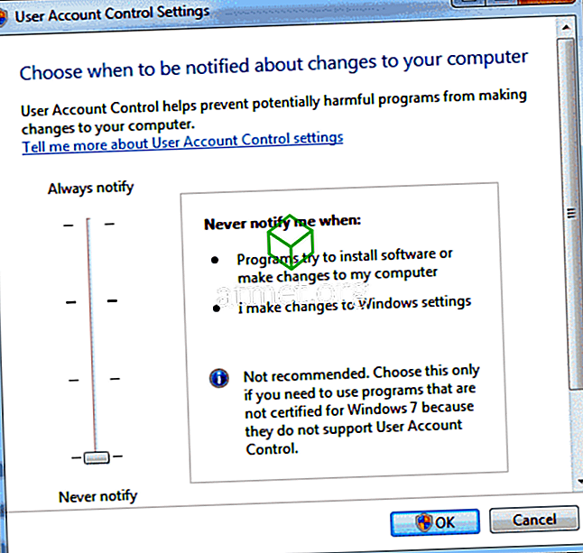 Luba või keelata kasutajakonto kontroll (UAC) operatsioonisüsteemis Windows 10, 8 või 7